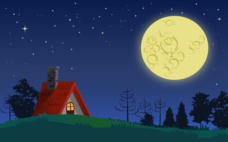 Country cottage in full moon starry night landscape Illustration