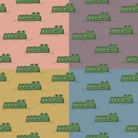 Crocodile swimming in the water four tone seamless pattern cartoon kid design Vector
