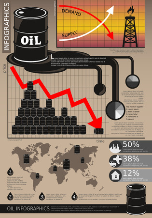 Oil industry infographic price chart world map for presentation Иллюстрация