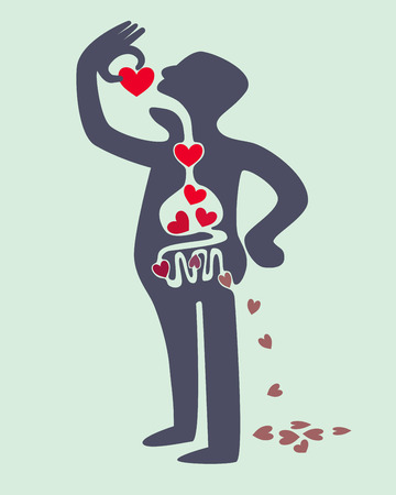 Digestion diagram of man eating love red heart Vectores