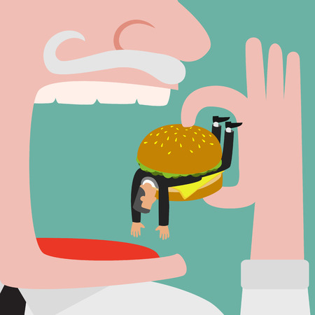 trapped: Bigger businessman eating businessman who get trapped by burger. vector illustration Illustration