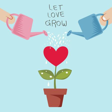 Paar Laat de liefde groeien in een pot besproeid uit een gieter