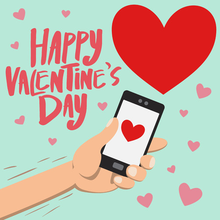 grasp: Happy Valentines day on smartphone with big red heart