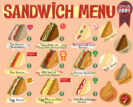 Sandwich healthy Menu billboard with bread option for restaurant, fast food, and more