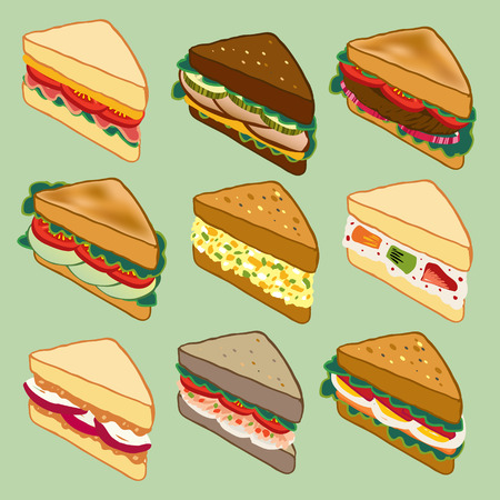 multi grain sandwich: Sandwich variety parade vector illustration for restaurant, fast food, and more Illustration