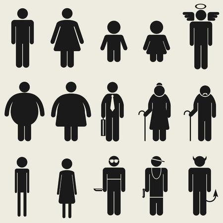 hombre flaco: Variedad personas icono s�mbolo para m�ltiples usando
