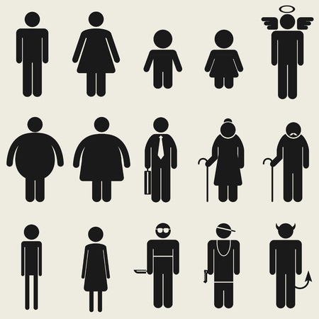 thin man: Variedad personas icono s�mbolo para m�ltiples usando
