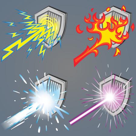 fire and ice: Een set van metalen schilden tegen 4 macht balk (Thunder, Fire, Ice, Laser)