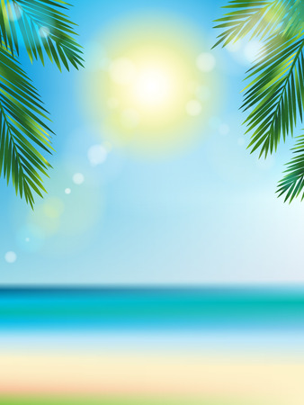 Summer time at the beach with coconut leaf on top vertical and bokeh effect Vector