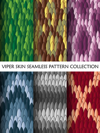 viper: Viper skin seamless pattern collection vector illustration Illustration