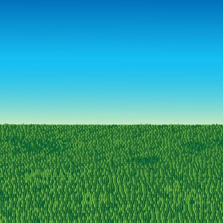 green grass field and clear blue sky background vector illustration Illustration