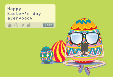 on decorate mobile telephone: Easter egg sending a post Happy Easter day everybody from his mobile phone Illustration