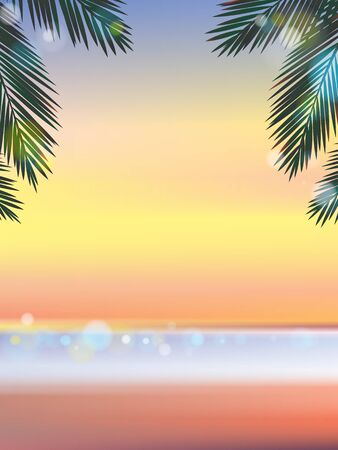eden: Sommerzeit am Strand am Abend mit Bokeh-Effekt vertikale Illustration