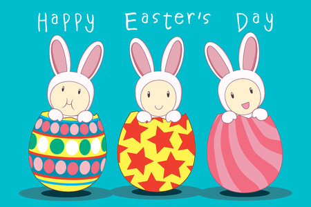 trio: Trio bunny pop up from easter egg with word  happy easter day