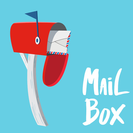 Red Mail box with letter inside  イラスト・ベクター素材