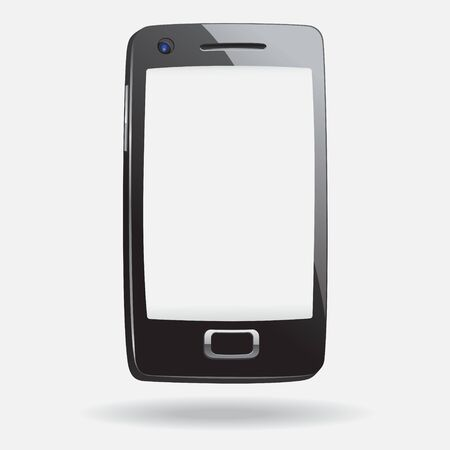Realistically cartoon style Smart Phone With Blank Screen Isolated on white background