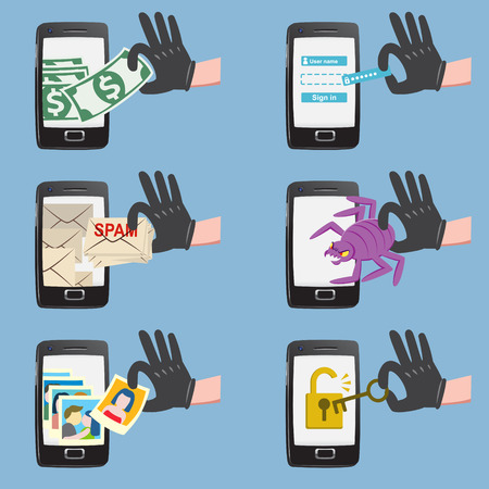 elementos de protecci�n personal: Conjunto de actividad de los hackers en el tel�fono inteligente con el spam bug grieta robar dinero contrase�a de la cuenta de datos personales