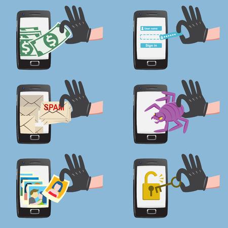 Set van hacker activiteiten op smartphone met bug crack spam stelen van geld account wachtwoord persoonsgegevens Stock Illustratie