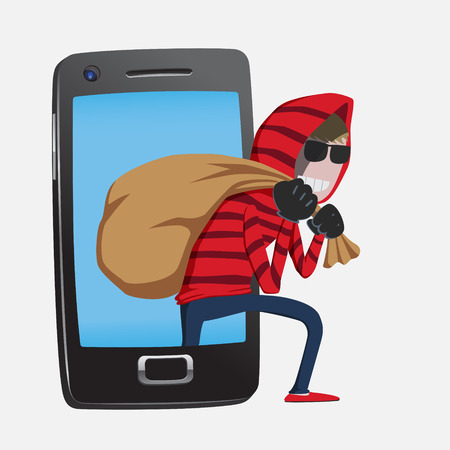 Red hood Hacker step out of smart phone screen after his criminal activity crack, spam, stealing money ,account password, personal data