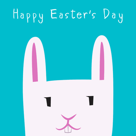 Happy Easter Day with Bunny Face flat design  イラスト・ベクター素材