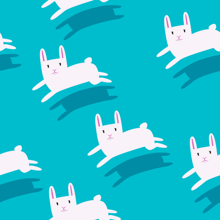 harmless: White rabbits running with shadow on a solid background flat design seamless pattern