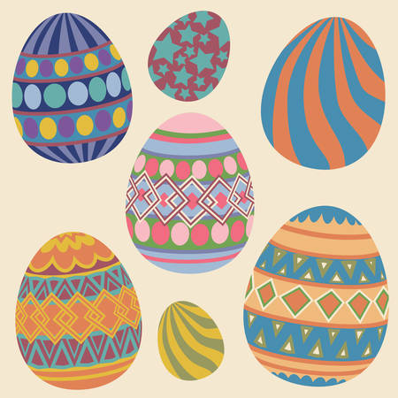 solid color: Set of Colorful Easter eggs Collection on solid color background Illustration