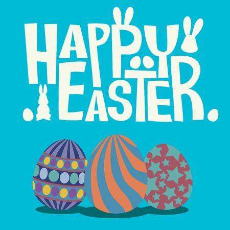 vecter: Happy Easter with Easter eggs flat design vecter illustration Illustration