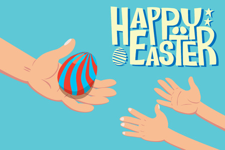 A hand holding easter egg giving to children hand with word Happy Easter Illustration