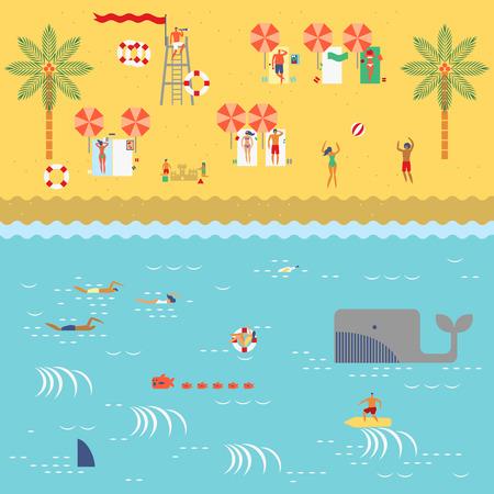 사람들이 복고풍 빈티지지도 스타일 모래, 비치 볼 및 인명 구조를 재생, 일광욕, 읽기, 서핑, 수영 해변에서 여름 시간 일러스트