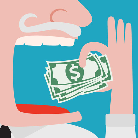 stingy: Closeup of greedy, evil Businessman in white shirt eating green cash dollars from his left hand, isolated on green background. Negative emotion, Financial avarice concept Illustration