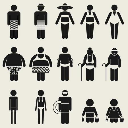 enfant maillot de bain: les gens de variété dans la saison estivale icône de vacances symbole pour le multi utilisant