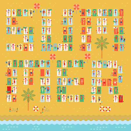 Crowded summer at the beach with people sunbathing,reading,sleeping,playing tablet,playing sand in retro vintage map style 矢量图像