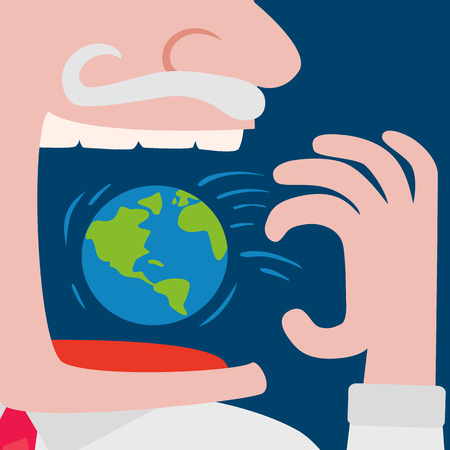 fund world: Close up of greedy businessman throwing the world planet  in to his mouth