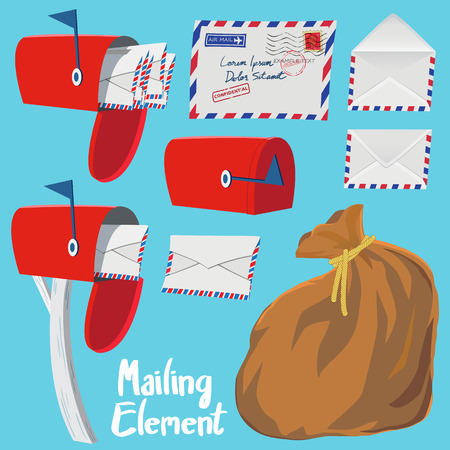 registered mail: Set of Red Mail box,Letter envelope and Mail bag in vintage style vector illustration