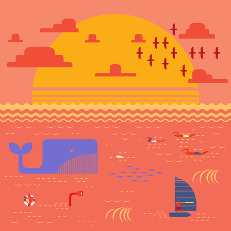 swimming bird: Summer time at sunset sea with people swimming,windsurfing and flock of bird going home in retro vintage map style