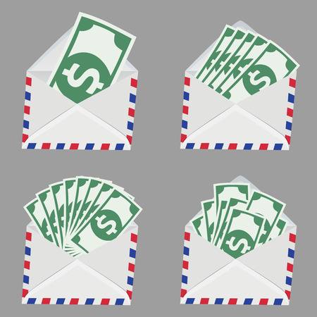 transfering: Set of white vintage Envelope with money bill inside isolated on grey background Illustration