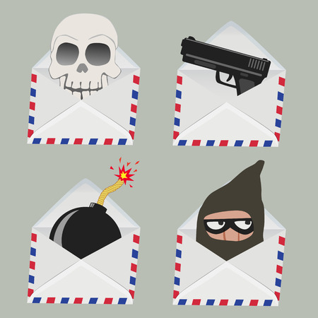 email bomb: Set of white Envelope with Skull,gun,bomb and Thief inside isolated on grey background Illustration