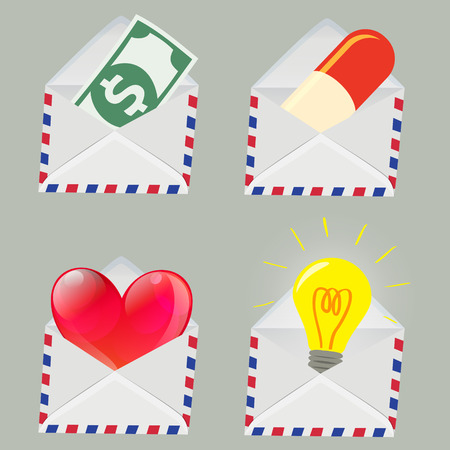 red pill: Set of white Envelope with Money,Pill,Red Heart and Light bulb inside isolated on grey background
