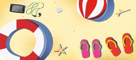 sun beach: Summer beach with red and pink sandal,smartphone,swim ring,beach ball background