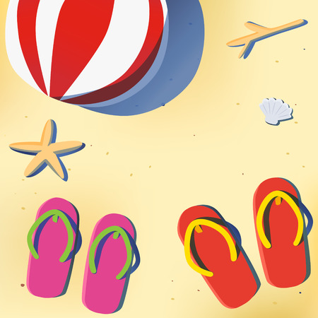 postcard back: Summer beach with red and pink sandal,coral,star fish,beach ball background