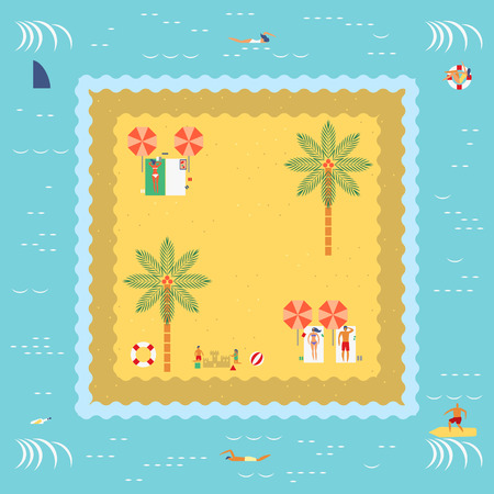 sand beach: Summer Island with people swimming,surfing,sunbathing,playing sand and beach ball in retro vintage map style Illustration