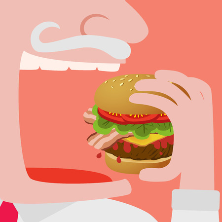 eating pastry: Close up of a Man eating a Big hamburger vector comic illustration