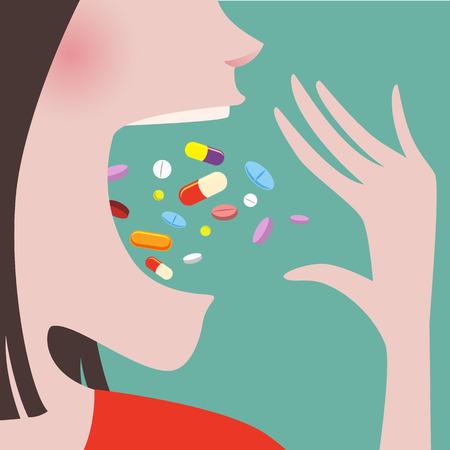 pastillas: Cerca de la mujer en tela roja Lanza una gran cantidad de pastillas en su boca Vectores