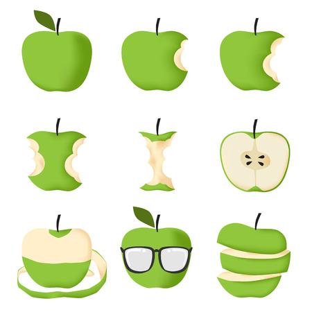 manzana caricatura: Conjunto de manzana verde aislado en el fondo blanco ilustración vectorial Vectores