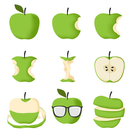 apple core: Set of Green apple isolated on white background vector illustration