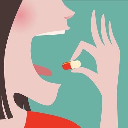 boca: Cerca de la mujer en pa�o rojo tomando una pastilla en la boca Vectores
