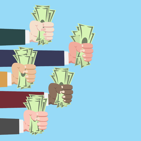 Hands of international businessman grasping money isolated on blue background vector
