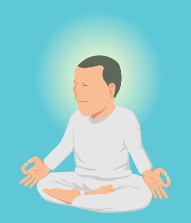 peaceful background: White cloth peaceful man doing meditation isolated on blue sky background vector