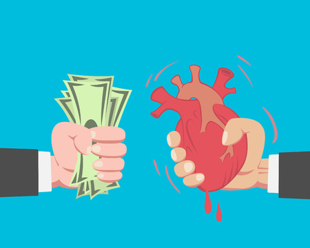 takeover: Hand of businessman with money buying a Heart from another businessman on blue background vector