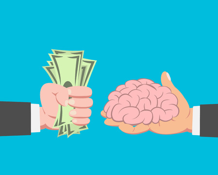 takeover: Hand of businessman with money buying Brain from another businessman on blue background vector